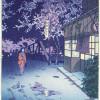 Японские гравюры цветущей сакуры