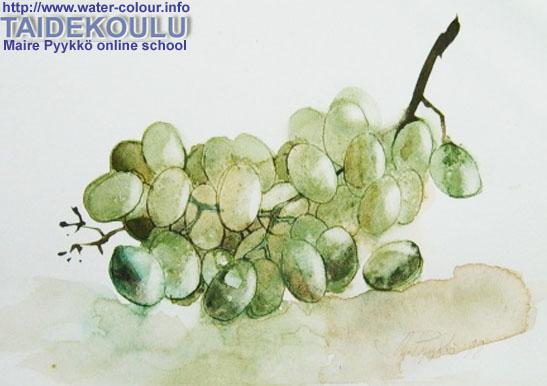 Мастер-класс как нарисовать акварельный натюрморт с виноградом