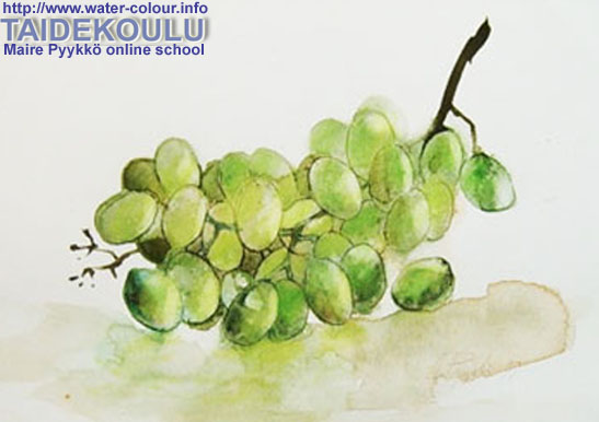 Урок для новичков акварельный натюрморт виноградом кисть