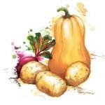 Сочные акварельные овощи Georgina Luck из акварельных клякс
