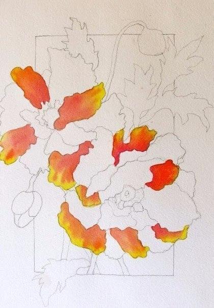 Рисуем маки акварелью фото #3