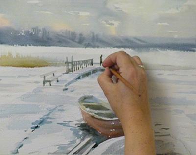 зимний пейзаж для новичков легко рисовать