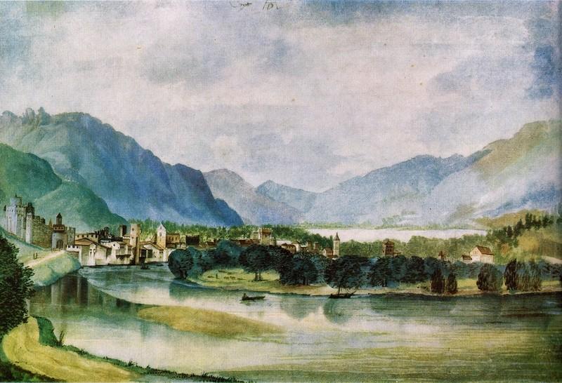 акварели А.Дюрер. Вид с севера Трента. 1495 г.