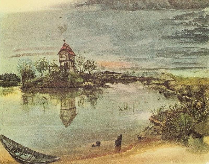 Акварели Альбрехта Дюрера. Дом на берегу пруда. 1497 г.