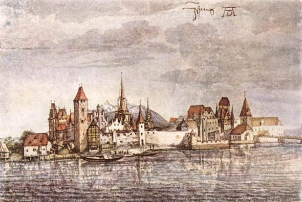Акварель Альбрехта Дюрера. Вид на Инсбрук, акварель, 1496.
