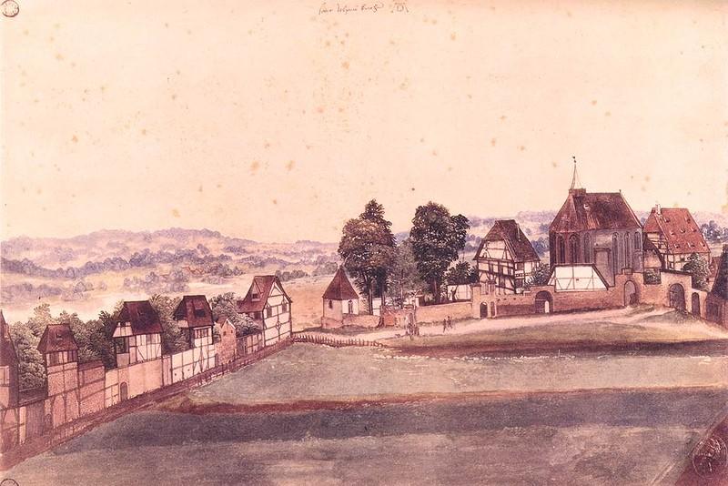 Альбрехт Дюрер. Церковь святого Иоанна, акварель и гуашь, 1489