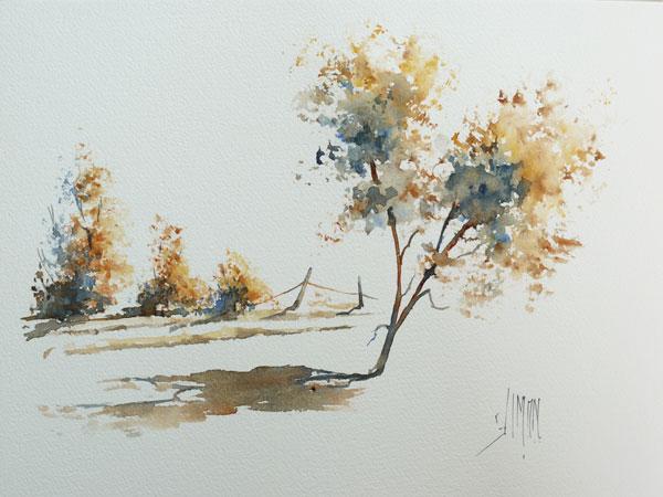 Урок рисования Aquarelle и натуральная губка рисуем деревья