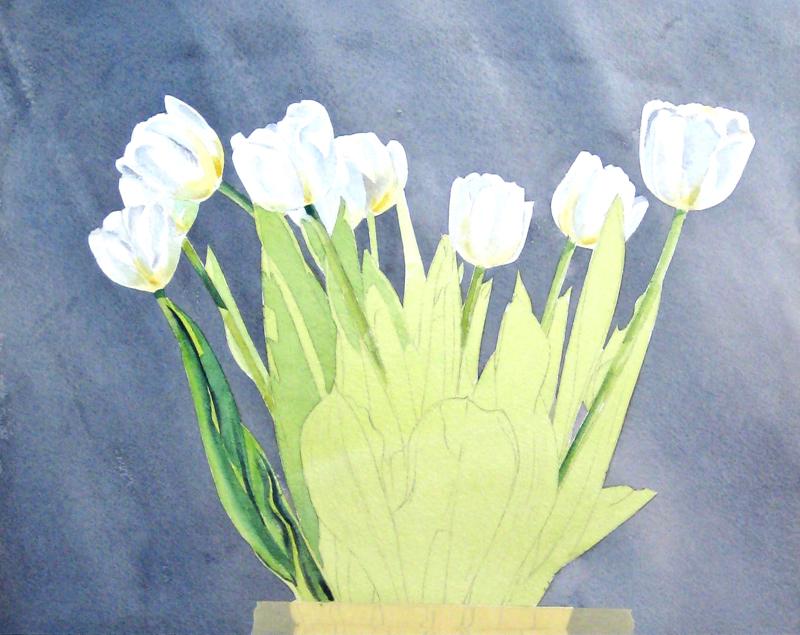 как нарисовать цветы в вазе