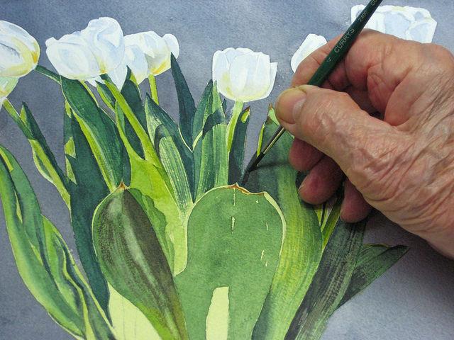 как нарисовать цветы в вазе урок