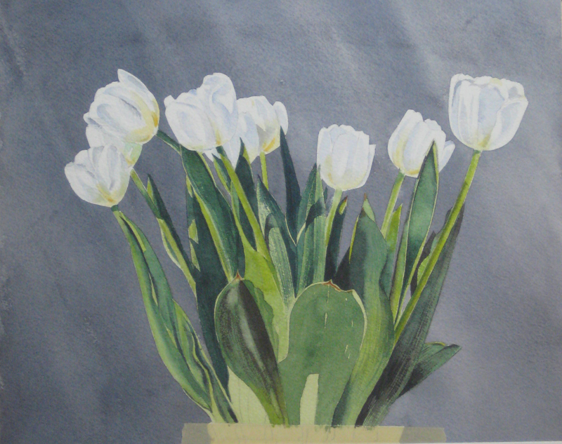 рисуем акварелью тюльпаны