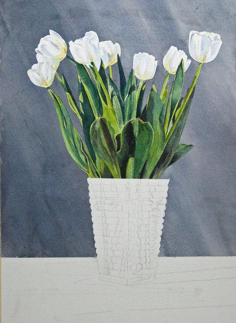 рисовать прозрачную вазу