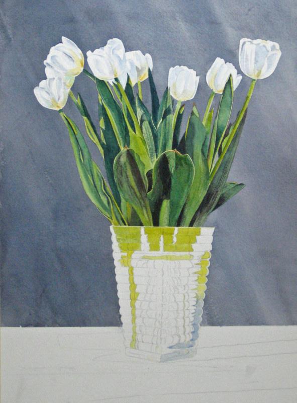 как рисовать акварелью цветы рисуем акварелью тюльпаны, рисовать прозрачную вазу