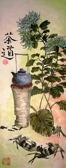 Чай, хризантемы и крабы