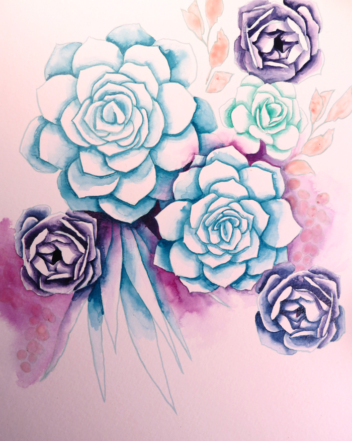 How to Make Watercolor Succulents with free template