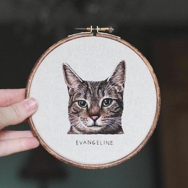 Вышитые портреты животных от Эмили Феррис (Emillie Ferris)