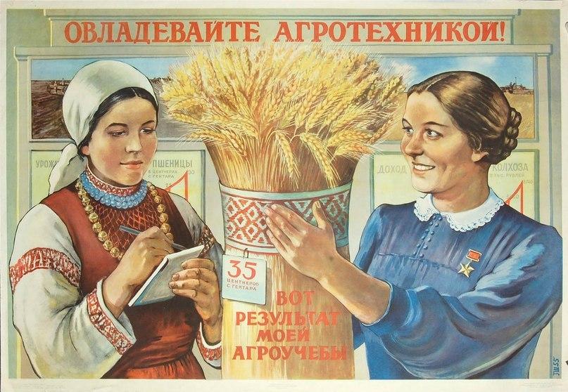 Плакат СССР агротехника колхоз 1935