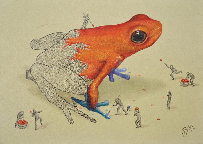 человечки красят гигантскую лягушку