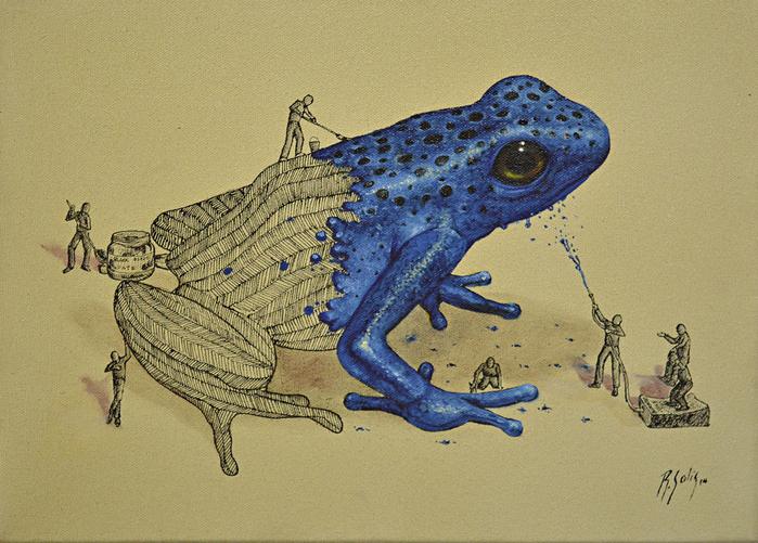 Ricardo Solis маленькие человечки красят синюю лягушку