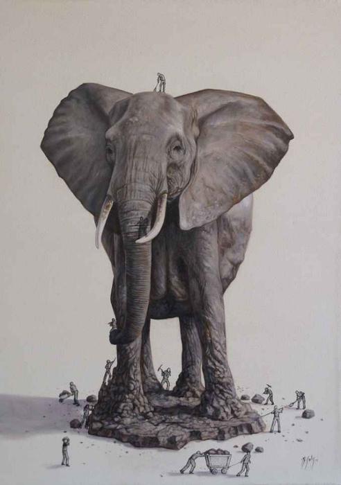 Животные на рисунках Ricardo Solis слон из камня