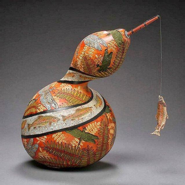 декоративная ваза из тыквы с рыбой