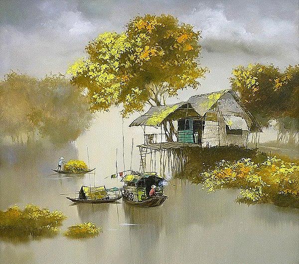 экзотический водный пейзаж с лодками и домиками
