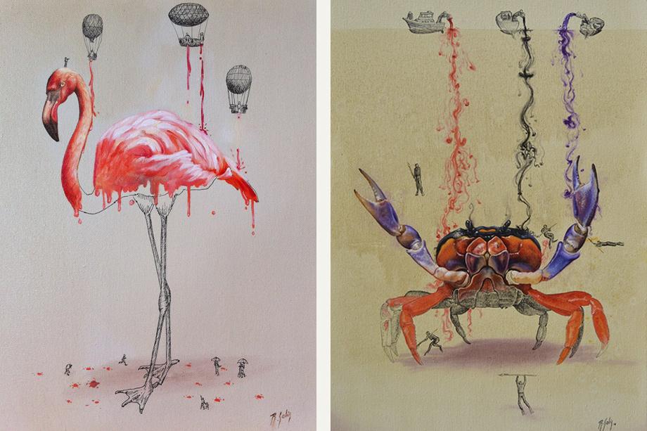 маленькие человечки красят гигантских животных на картинах Ricardo Solis