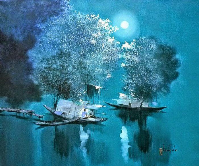 Вьетнамская живопись пейзаж с лодками