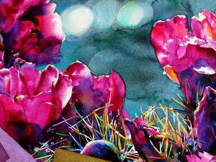 малиновые цветы на картине Брента Фандербурка