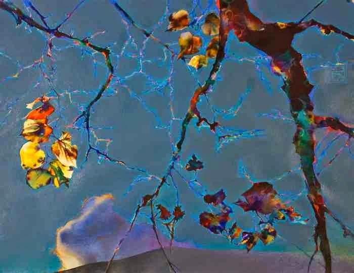 Brent Funderburk рисует галюциногенные картины с ветками деревьев