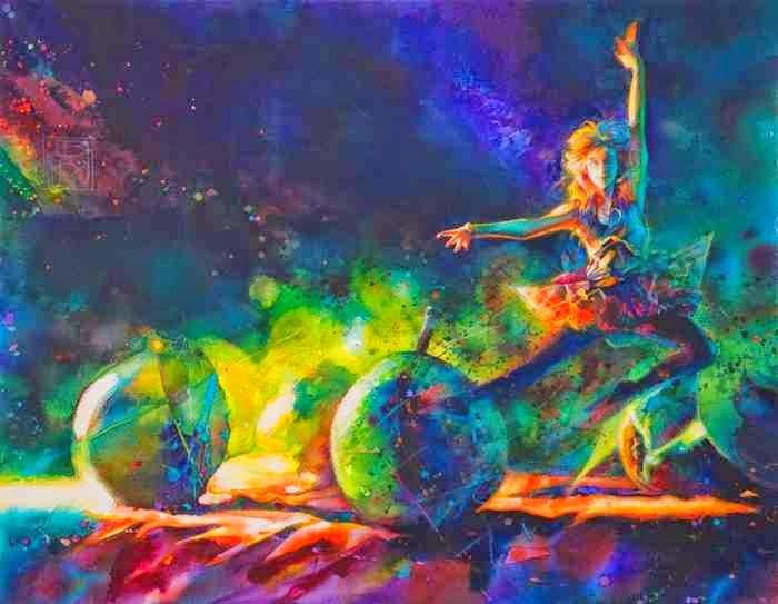 угарные танцовщицы на неоновых картинах Brent Funderburk