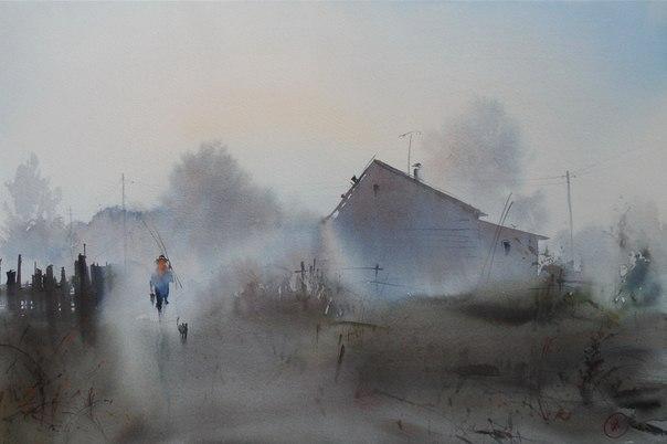 акварель туман