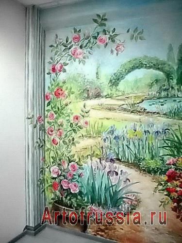 картина прямо на двери пасторальные цветочки
