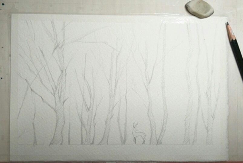 делаем набросок карандашом  Пишем сиреневый пейзаж акварелью. Пошаговый мастер-класс