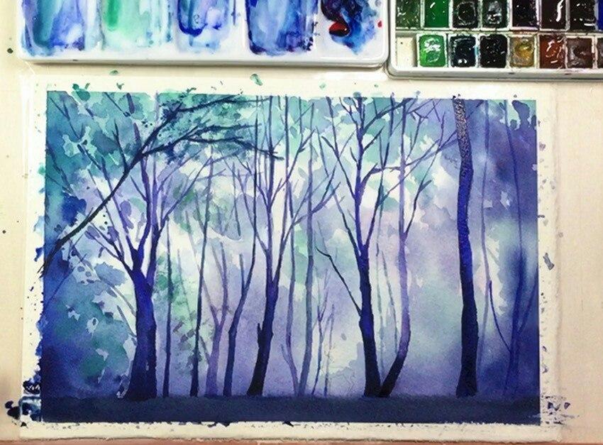 рисуем туманный лес акварелью