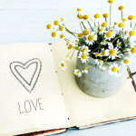 скетчбук с сердечком и цветочками редрав