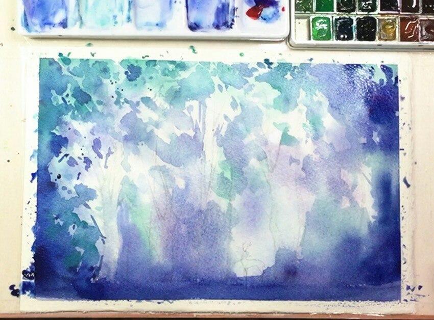Кляксовый фон пейзажа по мокрому урок