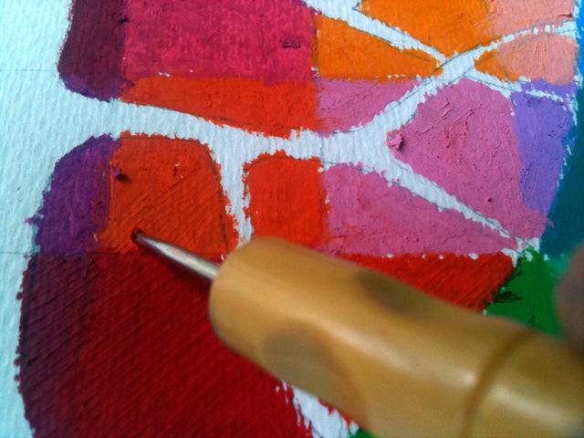 Делаем тиснение дотсом по пастели