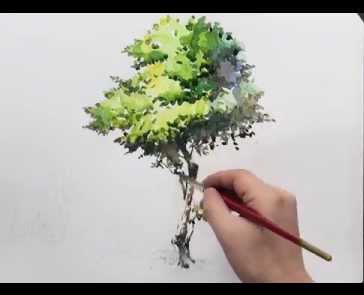 Учимся как рисовать деревья акварелью