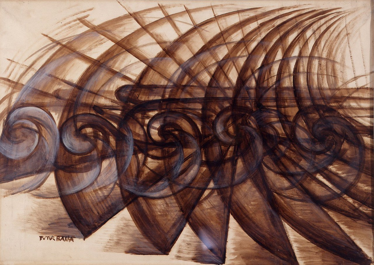 Speed Of A Motorcycle, 1913,Giacomo Balla