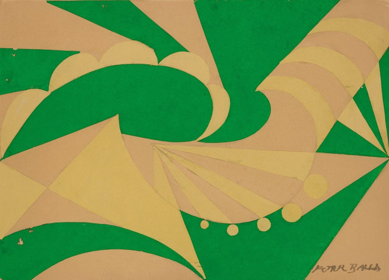 Giacomo Balla,Paesaggio, 1916. Collage on cardboard, 24.2 x 34.7 cm.